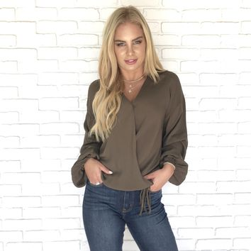 All Wrapped Up Olive Blouse