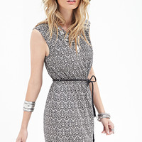LOVE 21 Fan Print A-Line Dress Black/Cream