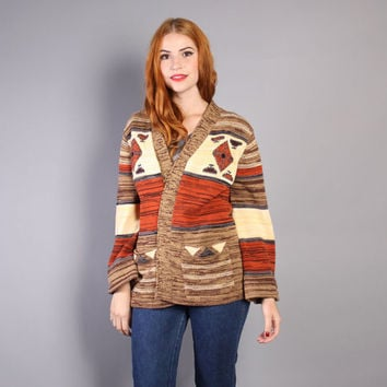 70s Tribal CARDIGAN SWEATER / Native Inspired Cozy Long Cardi