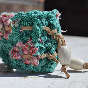 Crocheted Fabric Bracelet Turquoise With Suede Tie