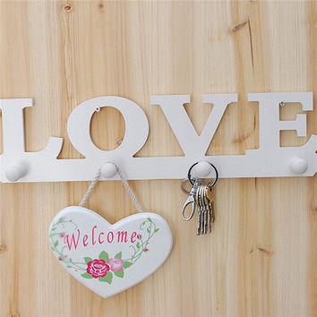 Eco-friendly Vintage White LOVE Wood Hook Clothes Robe Key Holder Hat Hanger Home Decoration Free Shipping