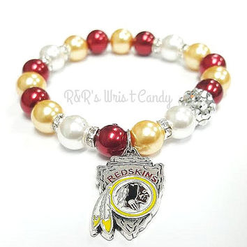 Washington Red Skins Beaded Bracelet, NFL Football Bracelet, Team Spirit, Maroon, Gold, White, Stretchy, Womens Handmade Custom Jewelry