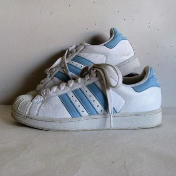 Vintage 1980s ADIDAS Sneakers White Blue Stripe Hip Hop Rap Shell Toe Trainers Womens