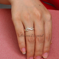 Infinity Ring With Diamond - Diamond Name Ring  - Promise Ring - Gift - Sterling Silver
