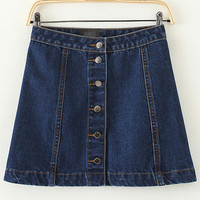 Blue Buttons A Line Denim Skirt -SheIn(Sheinside)