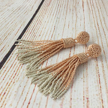 Ombre rose gold beaded tassel earrings, beaded drop earrings, fringe earrings,  statement seed beads earrings, gift for her, dangle earrings