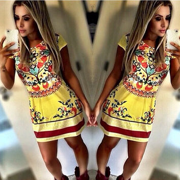Fashion Printe Bodycon Mini Dress