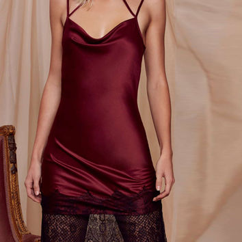 Burgundy Choker Strappy Silky Lace Hem Open Back Cami Slip Dress