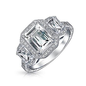 3CT Halo 3 Stone Emerald Cut CZ Engagement Ring CZ 925 Sterling Silver