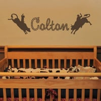 Personalized Bull Rider Western Rodeo Boy Vinyl Wall Art Decal