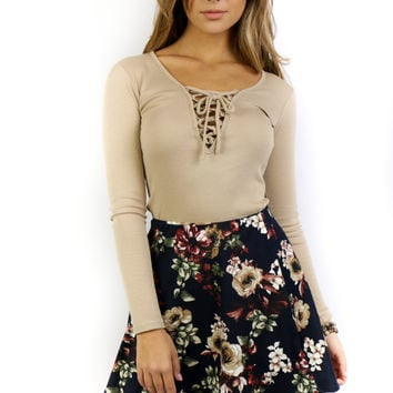 Rhythm Of The Night Navy Floral High Waist Skirt