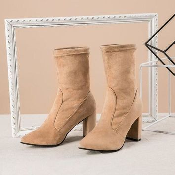 Cow Suede Pointed Toe Chelsea Boots