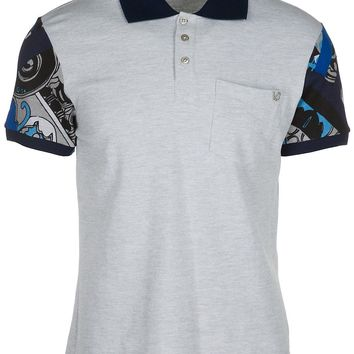 VERSACE JEANS MEN'S SHORT SLEEVE T-SHIRT POLO COLLAR NEW GREY B9A