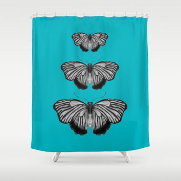 Butterfly on Teal Shower Curtain -  butterflies bold color - Illustration Art,  bathroom, bath, home, fanciful, pretty, extra long