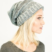 Unisex Soft Stretch Knit Oversized Slouchy Beanie (Mint Multi Color)