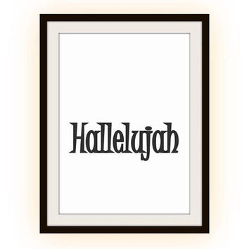 Leonard Cohen Hallelujah song lyric Printable Wall Art christian home decor room celebration decal print scripture bible poster nursery deco