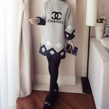 """Chanel"" Women Loose Fashion Geometric Multicolor Letter Long Sleeve Lantern Sleeve Half Turtleneck Sweater Mini Dress"