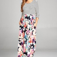 Floral Flair Striped Maxi Dress - Neon Floral