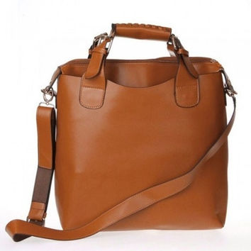 Fashioncity New Fashion Vintage Brown Faux Leather Handbag Shopper Tote Bag for WomenFC12727 = 1651455556