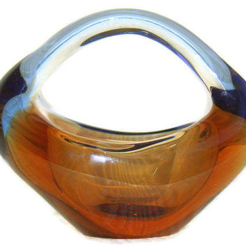 Skrdlovice Sculpture Bowl design by Jan Beranek 1950s Czech Glass Sklo