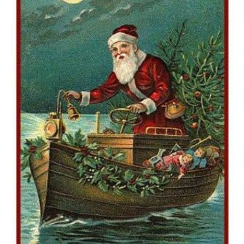 Victorian Father Christmas Boating Santa Delivering Presents Counted Cross Stitch Pattern