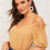 Cold Shoulder Shirred Panel Sweetheart Top
