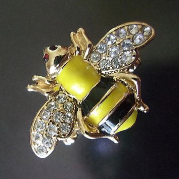 Bumble Bee Rhinestone Stretch Ring, Gold Tone, Yellow Black Enamel, Vintage Size 6-8