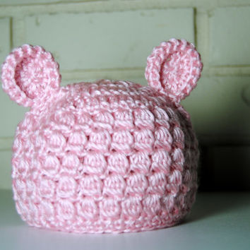 Baby Girls Crochet Bear Hat, Pink Bear Hat, Newborn Girl Photo Prop Infant Girl Hospital Hats, Bear Ear, Textured Crochet Hat, Toddler Girls