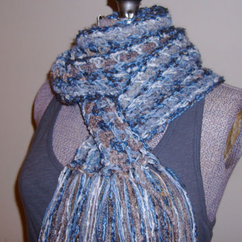 Tempestuous Tidal Surge Nature Tans Blues Slate Cream Unisex Freeform Crochet Scarf Manly Men will Like it
