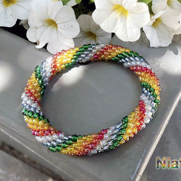 Rainbow Spiral Roll On Bracelet Crochet Stripped Bead Rope Niatta