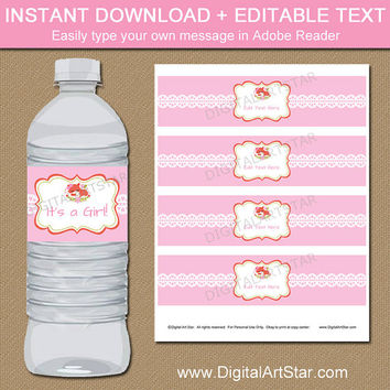 Woodland Baby Shower Water Bottle Labels - Girl Fox Baby Shower Decorations INSTANT DOWNLOAD - Forest Animals Baby Shower Bottle Labels BSGF