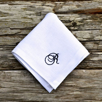Monogrammed White Linen Handkerchief, Personalized Hankerchief, Embroidered Hankie, Irish Linen Monogram Pocket Square, Mens Hankerchief