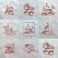 Embroidered Quilt Blocks Koi Fish Asian Lot of 4 Redwork q107