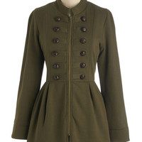 ModCloth Military Long Long Sleeve Plush My Buttons Coat