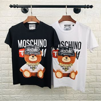 Moschino cartoon necklace bear print round neck half sleeve T-shirt