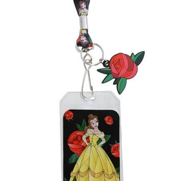 Disney Beauty And The Beast Stained Glass Art Lanyard
