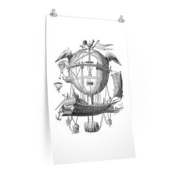 Posters with Hot Air Balloon Flying Airship Art Print