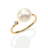 Mizuki - Sea of Beauty 10MM White Freshwater Pearl, Diamond & 14K Yellow Gold Wrap Ring - Saks Fifth Avenue Mobile