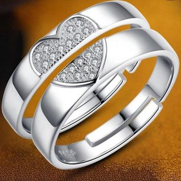 DCCKIX3 2015 New Creative Gift 925 Sterling Silver Couple Rings Love Ring of Concentric Ring = 1929940356
