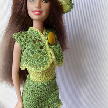 Crochet Barbie Clothes Sunhat - Yellow Lace Barbie Hat with Green Edging, Handmade Fashion Doll Summer Hat