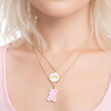 Care Bears Cheer Bear Double Layer Necklace Set