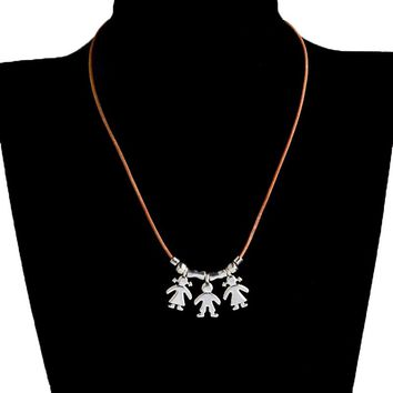 Miss Zoe 1-3 Kids boys girls Pendant Necklaces Leather chain Son Daughter Family Jewelry Birthday Gift for Mom Mother's Day