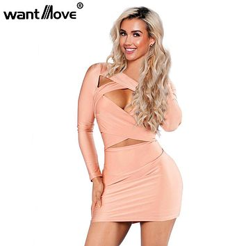 Wantmove sexy mini dresses club wear 2017 summer dress women full sleeve hollow out bodycn dress plus size women clothing XD869