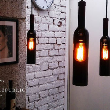 Bottle Lamp - Lighting - Industrial Style Black Bottle Hanging Lamp, Kitchen chandelier, Wine bottle, Edison bulb, Industrial light, lamp