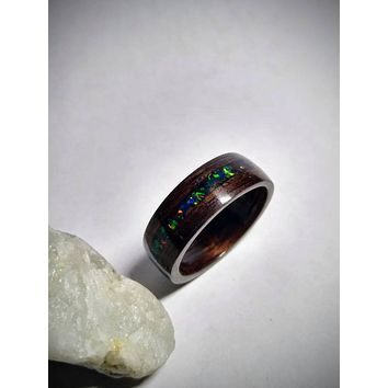 Rosewood and Opal bent wood ring