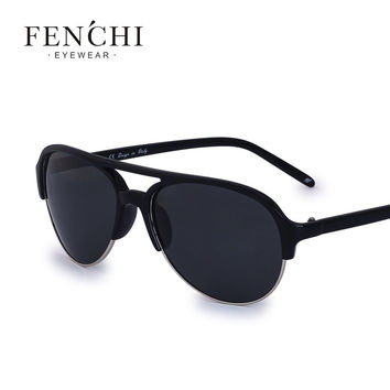 2017 fenchi Glassic Frame Fashion New pilot man Sunglasses Women Brand Designer Flat Top polarized Male Sunglasses oculos UV400