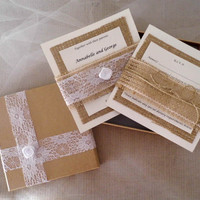 Burlap and lace elegant boxed wedding invitation, rustic invitations, country wedding invitations, natural invitations set of a hundred