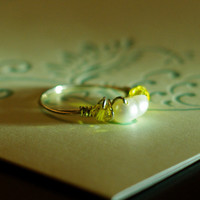 Belle costume ring, Beauty and the beast jewelry, topaz Swarovski, freshwater pearl- Wire wrapped