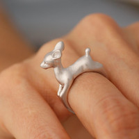 Adjustable Bambee ring, Deer Adjustable animal Ring, Deer ring in Gold, Pink Gold, Silver color