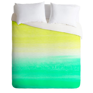 Rebecca Allen When Yellow Met Turquoise Duvet Cover